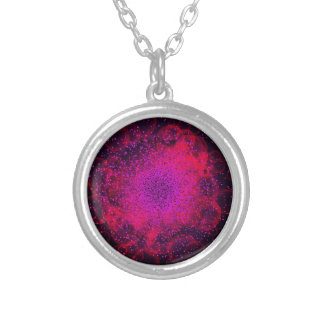 Bokeh Explosion. Сolorful Abstract Background. Silver Plated Necklace