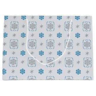 Bokeh Hanukkah Deco Snowflakes Large Gift Bag