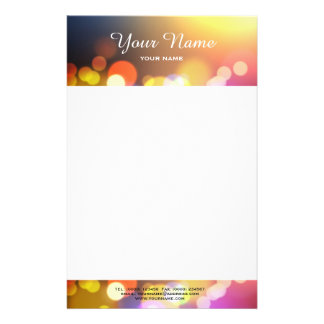 Bokeh lights letterhead personalised stationery