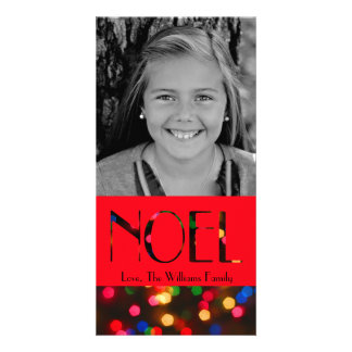 Bokeh Noel in Lights Custom Photo Card