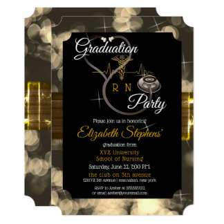 Bokeh Nurse Stethoscope EKG Graduation Party Card
