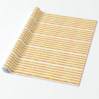 Bokeh Stripes Orange And White Wrapping Paper