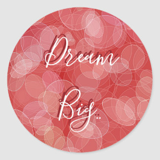 Bokeh style red gradient texture. text. classic round sticker