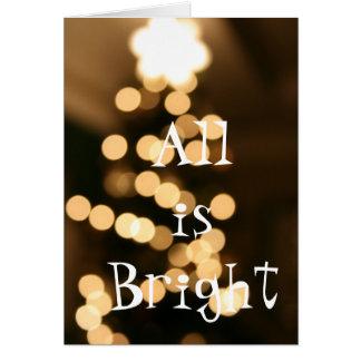 Bokeh White Star Light Christmas Tree Card