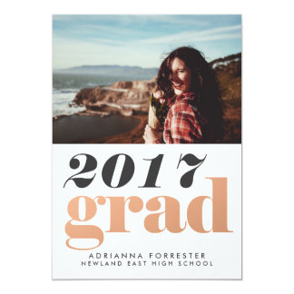 Bold 2017 Grad Rose Gold Typography Photo Card