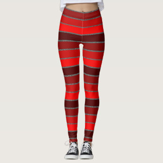 Bold, 4 Toned Red Striped Leggings