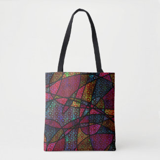 Bold Abstract Art with Circles & Black Lines Tote Bag