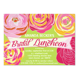 Bold Abstract Floral Bridal Luncheon Invitation