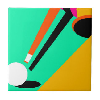 Bold Abstract Pool Billiards Cue Ball Stick Tile