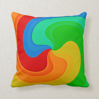 Bold Abstract Swirl Pillow in Vivid Colors
