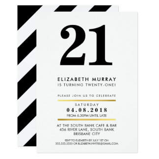 BOLD AGE NUMBER minimal black white 21ST INVITE