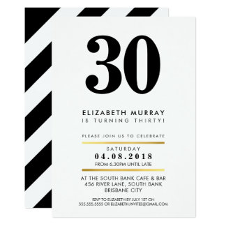 BOLD AGE NUMBER minimal black white 30TH INVITE