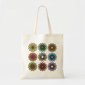 Bold and Beautiful Square Flower Pattern Tote Bag