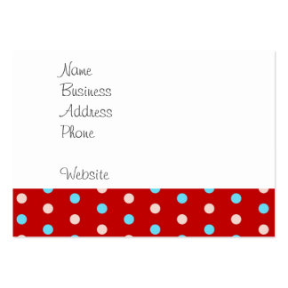 Bold and Bright Red and Blue Polka Dots Gifts Business Card Template