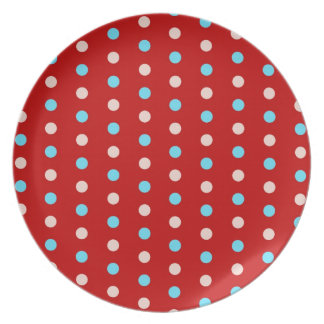 Bold and Bright Red and Blue Polka Dots Gifts Party Plate