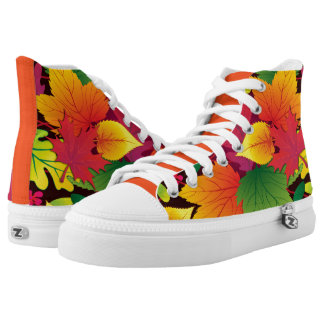 Bold and Colorful Autum Leaves High Tops