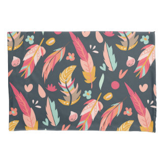 Bold and Colorful Boho Feathers Dark Pillowcase