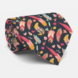 Bold and Colorful Boho Feathers Dark Tie