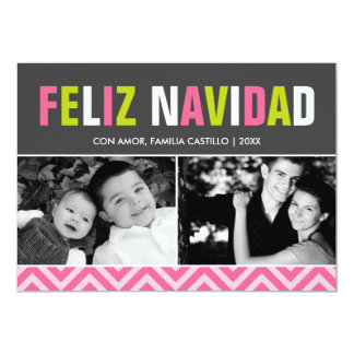 Bold and Colorful Feliz Navidad Photo Card