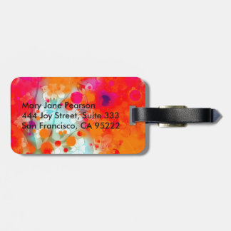 Bold and Cool Orange Teal Dreamy Floral Abstract Luggage Tag
