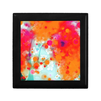 Bold and Cool Orange Teal Dreamy Floral Abstract Small Square Gift Box