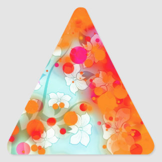 Bold and Cool Orange Teal Dreamy Floral Abstract Triangle Sticker