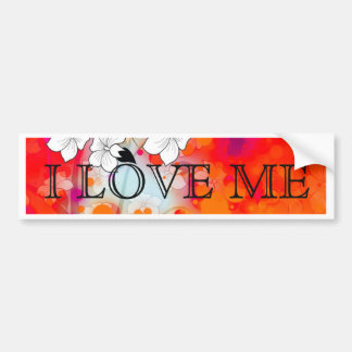 Bold and Cool Red Dreamy Floral Abstract Bumper Sticker