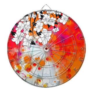 Bold and Cool Red Dreamy Floral Abstract Dartboard