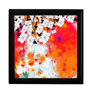 Bold and Cool Red Dreamy Floral Abstract Large Square Gift Box