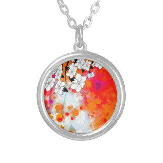 Bold and Cool Red Dreamy Floral Abstract Silver Plated Necklace