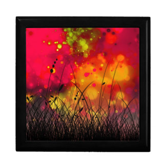 Bold and Cool Red Green Dreamy Abstract Large Square Gift Box