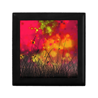 Bold and Cool Red Green Dreamy Abstract Small Square Gift Box
