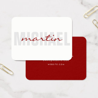 Bold and Cursive Text (red) Business Card