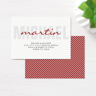 Bold and Cursive Text (red) stripes Business Card