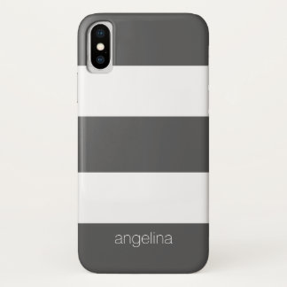 Bold and Modern White Striped Pattern Custom Name iPhone X Case