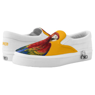 Bold and Summery Rainbow Macaw Parrot Lover Slip On Shoes