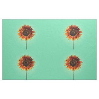 Bold Autumn Beauty Sunflower on Mint Combed Cotton Fabric