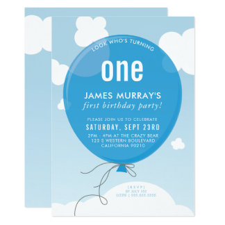 BOLD BALLOON birthday party invite blue sky