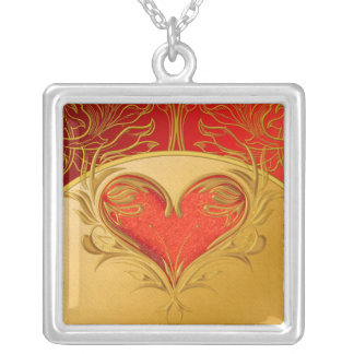 Bold Beautiful Heart Square Pendant Necklace