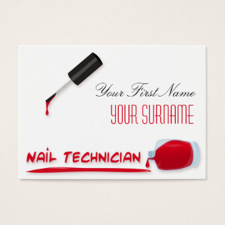 Bold Beauty Nail Salon Scarlet Red Polish Bottle Business Card