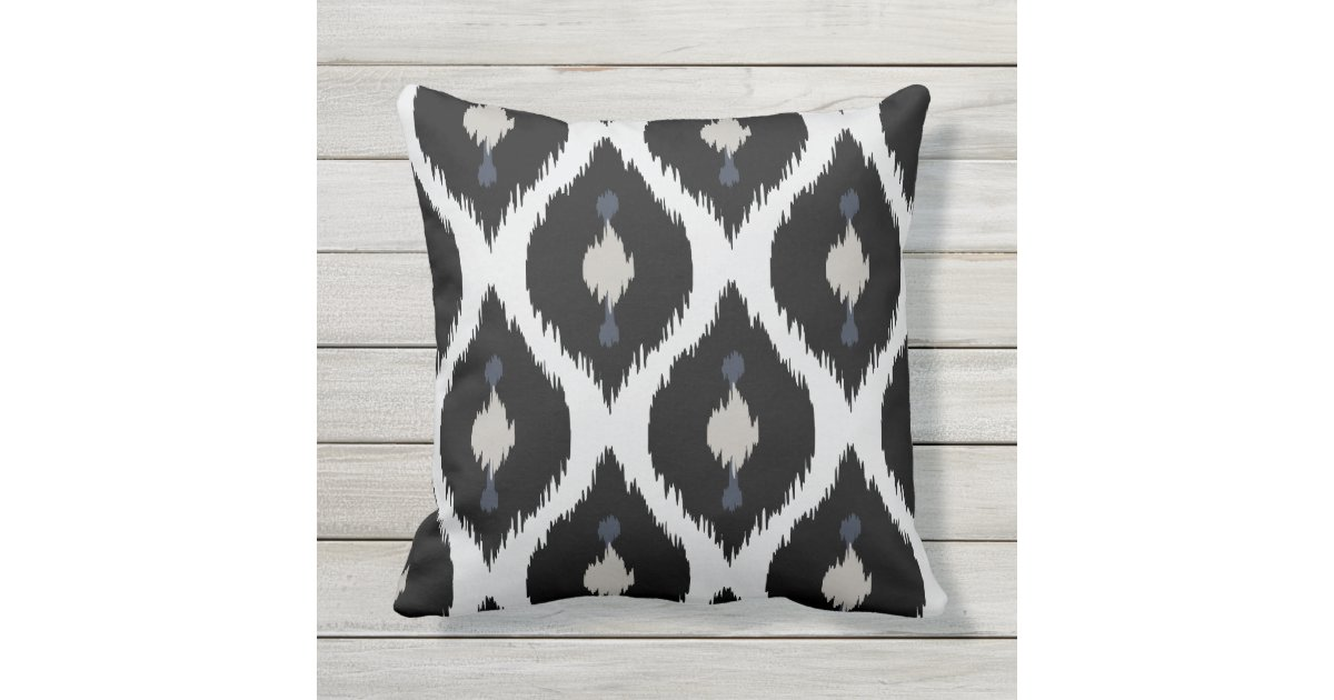 Black Tribal Throw Pillow : Bold beige black and white tribal ikat pillow throw ...