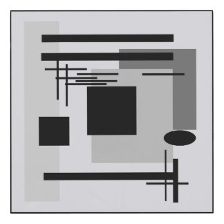 Bold black and grey abstract painting.
