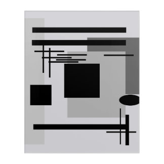 Bold black and grey abstract painting. acrylic print