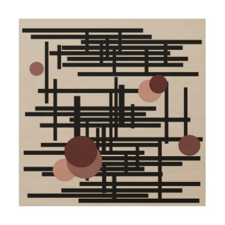 Bold black and grey abstract painting with circles wood canvases