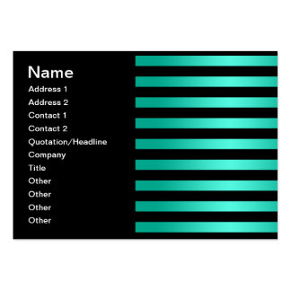 Bold Black and Teal Stripes Pattern Business Card