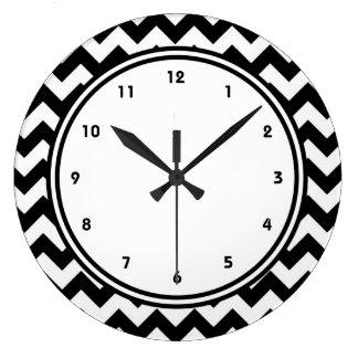 Bold Black and White Chevron Zigzag Large Clock
