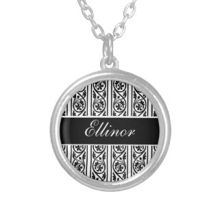 Bold Black and White Damask Silver Plated Necklace