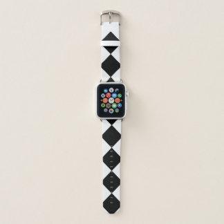 Bold Black and White Diamond Pattern Apple Watch Band