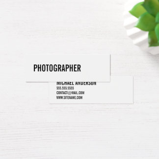Bold Black and White Mini Business Card