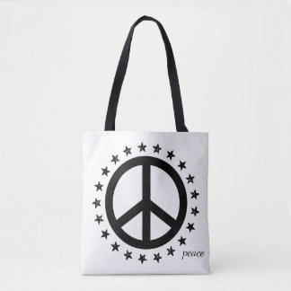 Bold Black and White Peace Symbol and Stars Tote Bag